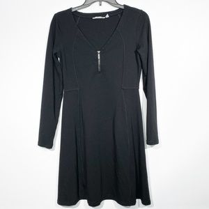 Athleta Black Long Sleeve Skater Dress Size Small
